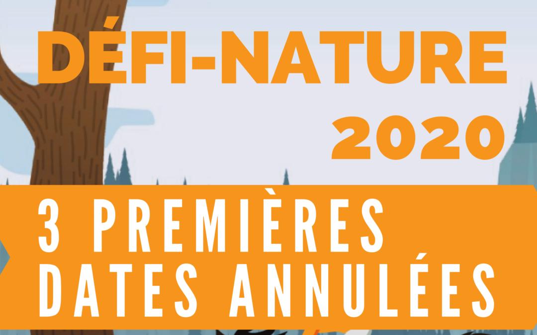 Défi-Nature 2020 : les trois premières dates annulées