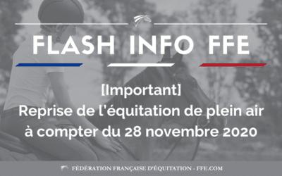 REPRISE DE L'EQUITATION – POINT D'ACTUALITE DU 28/11